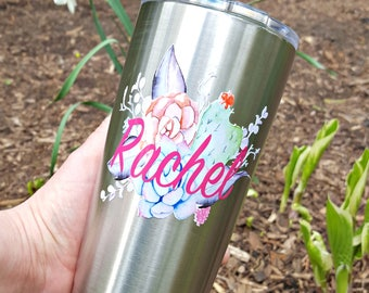 Personalized succulent stainless steel tumbler. Bridesmaid gift. Wedding tumbler. Spring tumbler. Easter gift.
