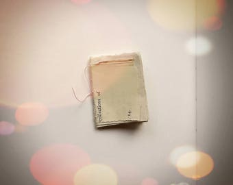 Tiny Handmade Book - Hand Stitched Recycled Scrap Art Paper Notebook Miniature