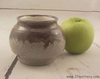 Stoneware Cache Pot - Ceramic Jar - Potpourri Bowl - Centerpiece Vase - Ready to Ship - Dusty Eggplant and Gray Heather - Ikebana Vase  v638