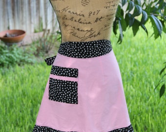 Pink Apron with Pet Paw Print Trim