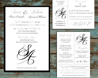 Monogram with Ampersand 100 Wedding Personalized and Printed Invitations, RSVP , Reception Hotel Inserts w/ FREE Envelope seals