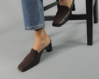 90s Minimalist Mules / Vintage Slip On Loafers / Leather Shoes / Brown Leather Loafers Δ size: 8.5M