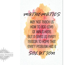 Math Poster, Quote, Solution, Printable Poster, Maths, Education