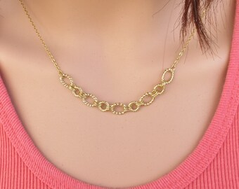 Hoops necklace,  gold endless circles , hoops pendant.Chain pendant