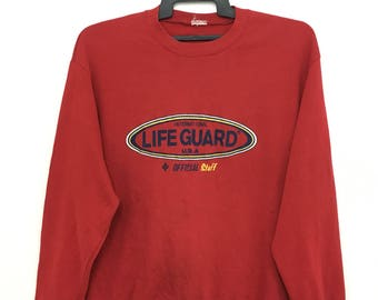 Rare!! Vintage 90's International LIFE GUARD Sweatshirt Official Staff Red Color