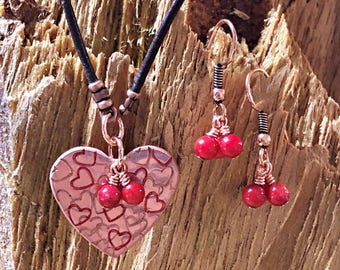 Copper Heart Necklace and Earring set, Heart Necklace, Valentines Day Necklace, Red Heart Necklace set, Gift for her, Heart Jewelry