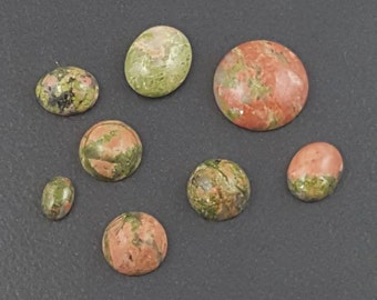 Unikite Cabochons, 15mm to 7x5mm, lot of 7 cabs, pink and green, unikite cabs, cabochons, cabs, mixed sizes, multi pack, pink green cabs