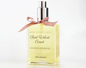 Rose massage oil, bath oil, rose body oil, sensual body oil, 100% natural and vegan moisturizer --- Red Velvet Corset