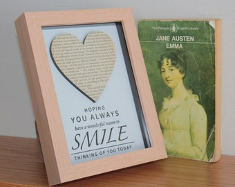 Vintage 1970's Emma Jane Austen Box frame art, with a hand stamped, embossed Thinking of You Smile quote beneath