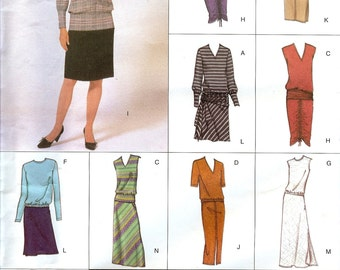 Vogue UNCUT Easy Options Pattern 2593 Misses Easy Top & Skirt 12-16