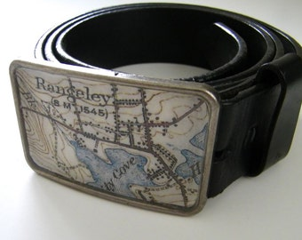 Rangeley  Maine belt buckle - gift boxed