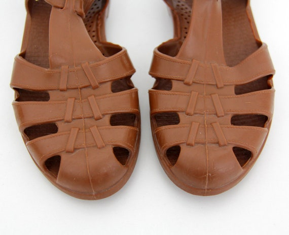 Vintage 80's Jelly Sandals Jellies Brown YCqB6zqwx