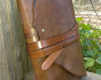 Hand bound, bee's waxed rugged brown Leather journal