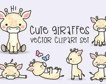 Premium Vector Clipart - Kawaii Giraffes - Cute Giraffes Clipart Set - High Quality Vectors - Instant Download - Kawaii Clipart