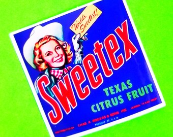 Vintage Fruit Crate Label Sweetex Texas Citrus Rose Brand Pears Retro Kitsch Glossy Vinyl Sticker - More Styles