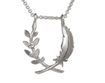 Small Olive branch and feather pendant