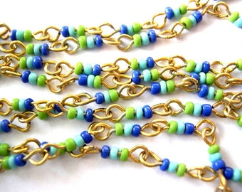 "Vintage chain beaded chain 48"" gold color metal with 1.5mm glass beads in blue and green shades"