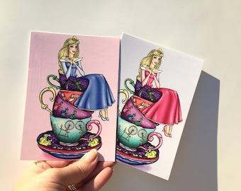 Teacup Aurora - Sleeping Beauty - Blue and Pink - Postcard Pair