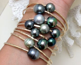 12mm Tahitian Pearl Bangle 14kt Gold Filled