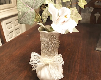 Crystal and lace sparkly vase