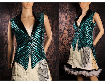 Black Blue Tailcoat Vest, glam metal tiger coat, circus fitted coat, steampunk wedding, Formal lightweight Jacket, tea party, festival coat