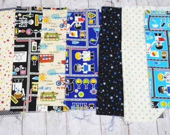Fabric scrap bundle  for boys including cars Little scientist and Star print  9.6 inches or 25 cm square each sc05