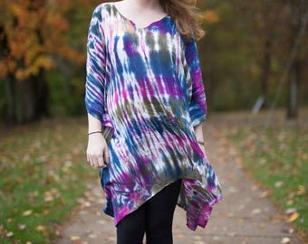 Hippie Costume / Tie Dye Tunic / Psychedelic Shirt / 1960's Style Costume-One Size Fits Most (F2) 4036wB