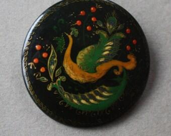 Russian Firebird Lacquer Brooch Made in Rublevo