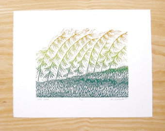 """Woodblock Print - """"Over Here"""" - Blendroll Sideoats Grama - Plant Print"""
