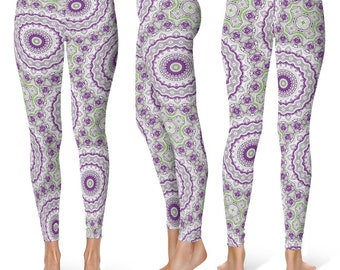 Hippie Leggings Yoga Pants, Funky Mandala Printed Yoga Tights for Women, Festival Clothing