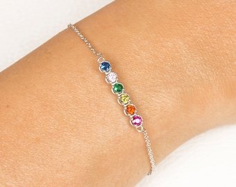 Bridesmaid Bracelet, Birthstone Bracelet, White Gold Bracelet, Mothers Birthstone Bracelet, Birthstone Bracelet, Custom Birthstone Bracelet