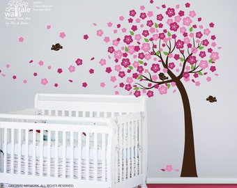 Cherry Blossom Tree wall decal with leaves and 3 birds. Tree wall decal for nursery, baby room. Nursery tree decals.