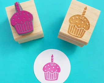 Cupcake Rubber Stamp - Birthday Cupcake with Candle Rubber Stamper - Cake Stamper - Muffin Stamp - Birthday Party - Party Invitation