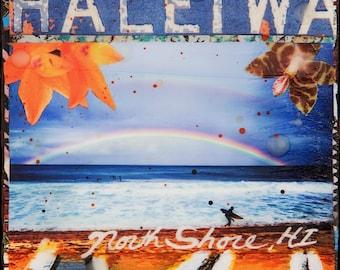 RAINBOW NORTH SHORE, Haleiwa, New 8x10, 11x14, 16x20, Hawaii, Hand-Signed matted print, Hawaii art, Tropical Art, Hawaiian Art, Pipe, Hawaii