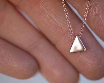 Minimalist Triangle Necklace Solid 14k Gold