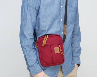 Red Winy Shoulder Bag / Brown Leather /  Small Messenger Bag / Travel Pouch / Bag For Men / Cordura Bag