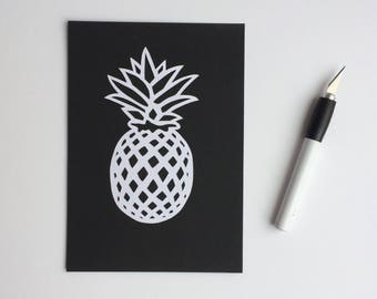 Monochrome Pineapple Papercut *handcut*