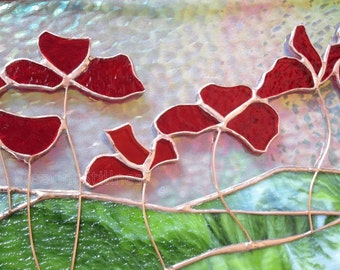 CUSTOM Poppies Stained Glass Transom Panel *by LINEAR FOOT* Red Poppy Stained Glass Panel Handmade