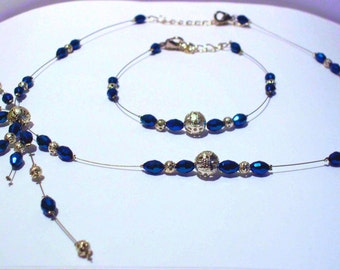 Blue ornament, necklace and earrings