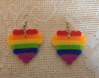Rainbow Heart Perler Bead Earrings