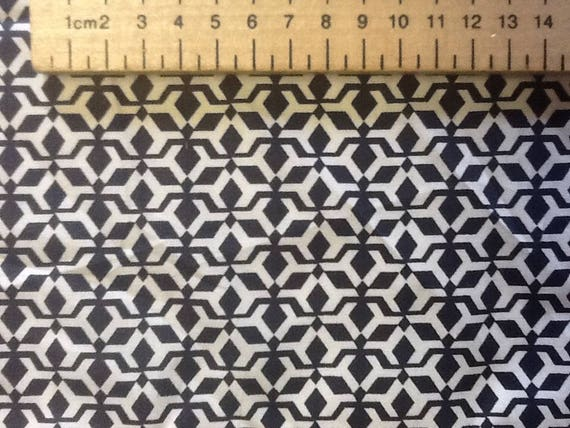 Japanese printed cotton poplin sold per 25cm, navy/white geometrical print