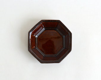 Small octagonal dish (brown) ; Fumika Miyake (13003111-7A)