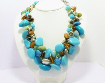 Upcycled Turquoise Cluster Necklace, Handmade, Jewelry, OOAK