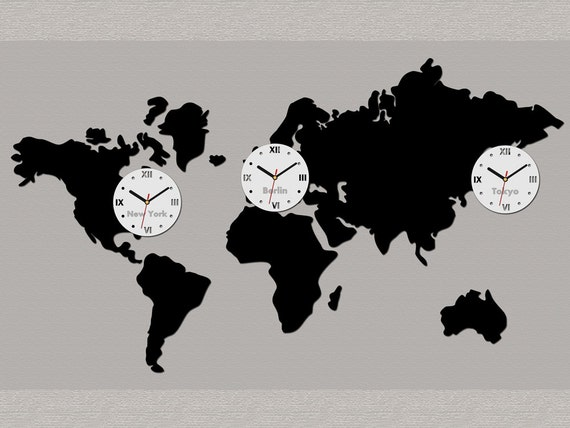 Big wall clock world map 3 time zones modern clock gift wall gumiabroncs Gallery