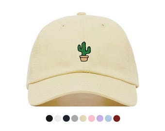CACTUS Baseball Hat, Embroidered Dad Cap, Succulent Cacti Desert Plant Customizable Hat, Unstructured Low-Profile, Adjustable Strap Back