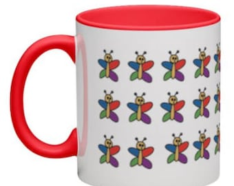 Red Colourful Butterfly Coffee Mug