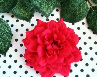 Red Dahlia Hair Clip,Red Flower Hair Clip, Red Dahlia