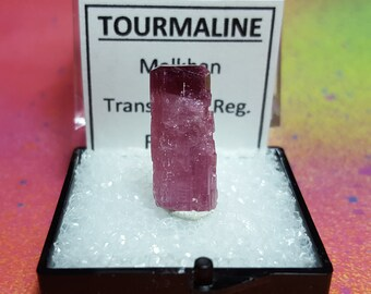 Sale TOURMALINE Bicolor Candy Apple Red Tip Rubellite Pink Terminated Gemstone Crystal In Specimen Box From Russia