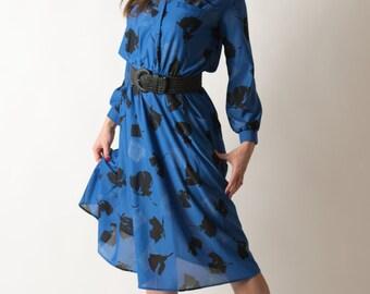 Vintage Cobalt Blue Black Floral Dress (Size Medium/Large)