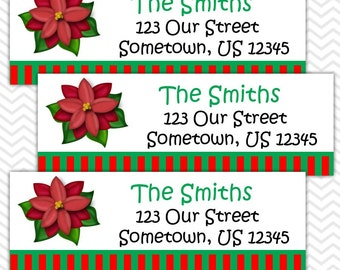 Christmas Poinsetta - Personalized Address labels, Stickers